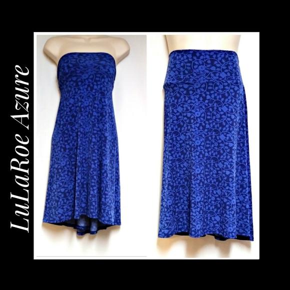 LuLaRoe Azure Skirt Blue on Blue Size XL NWOT's